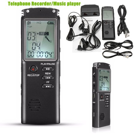 8GB 60HR Voice Activated USB LCD Digital Audio Voice Telephone Recorder Dictaphone MP3 Player U Flash Disk with Microphone Speaker+8GB Flash Memory+Cables +Earphone Noise - H.264 Digital Disk Recorder