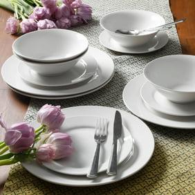 Plaza Cafe 12 pc Dinnerware Set - White - Solid Color - Stoneware ...