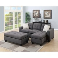 All In One Sectional With Ottoman And 2 Pillows In Gray