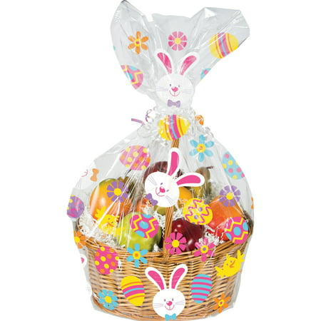 Creative Converting Easter Bunny And Eggs Basket Bag - Grass For Easter Baskets