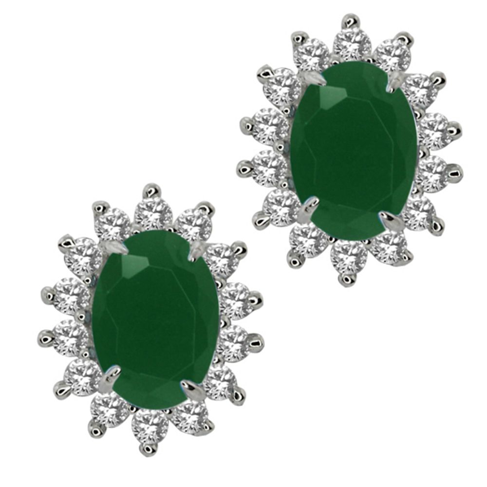 Stunning Green Color CZ 925 Silver Oval Shape Stud Earrings