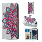 iPhone 6 Plus Case Wallet, iPhone 6S Plus Case, Allytech 3D Emboss Leather Protective Cover & Credit Card Pocket, Support Kickstand Slim Case for Apple iPhone 6 Plus 6S Plus (Big Flower)