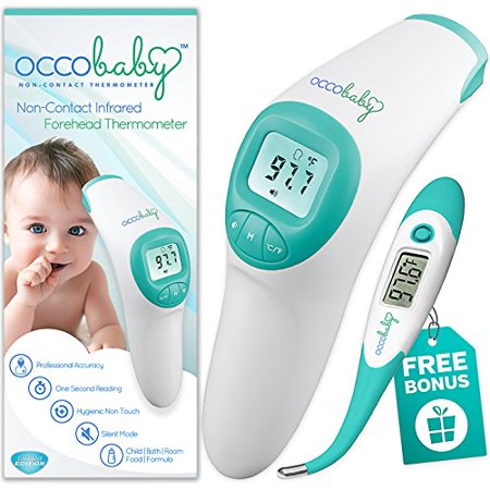 OCCObaby Clinical Forehead Baby Thermometer - Limited Edition with Flexible Tip Waterproof Digital Thermometer for Infants & Toddlers | Instant Read Non-Contact Infrared Scanner (Dot Single Use Clinical Thermometer)