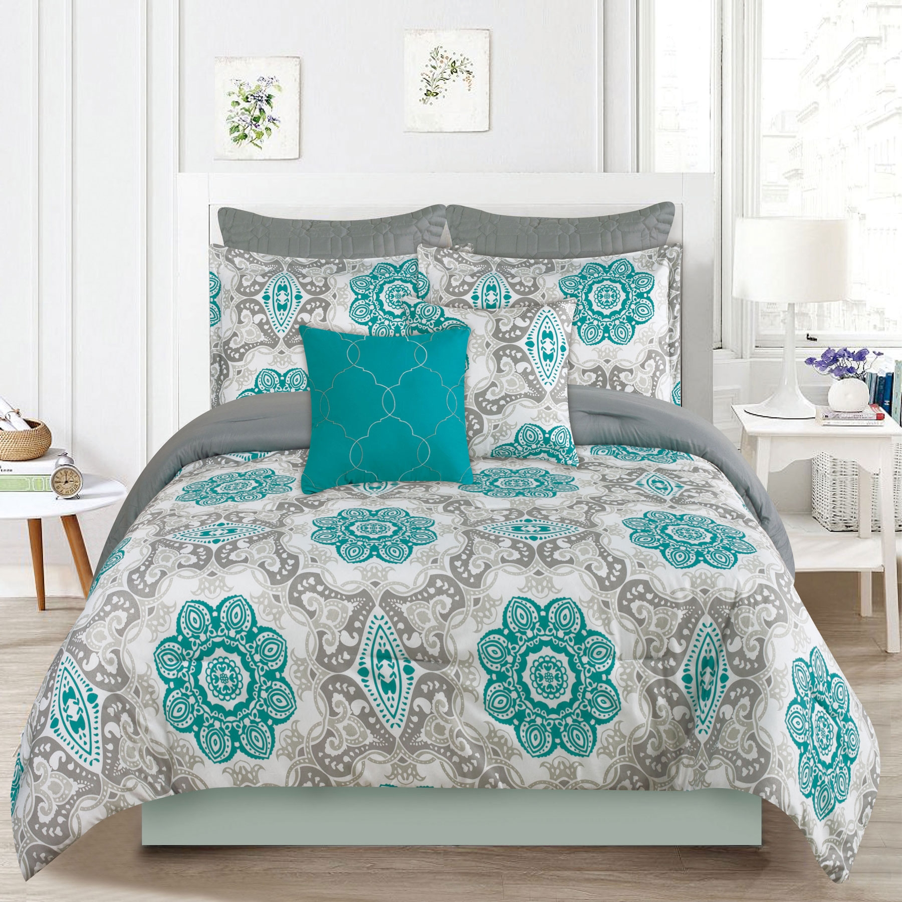 Bedding Comforter 7 Piece Queen Size Bed Set, Teal Blue and Gray Medallion
