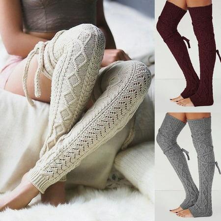 Colorful Leg Warmers (Knee-socks Womens Girl's Knee High Socks Knit Crochet Winter Leg Warmers Leggings)