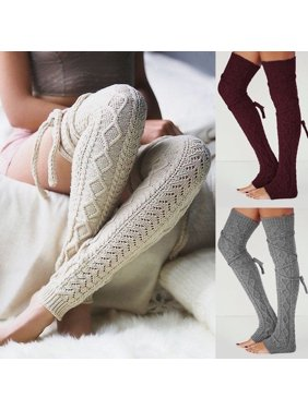 45680e2922e Product Image Knee-socks Womens Girl s Knee High Socks Knit Crochet Winter  Leg Warmers Leggings Socks