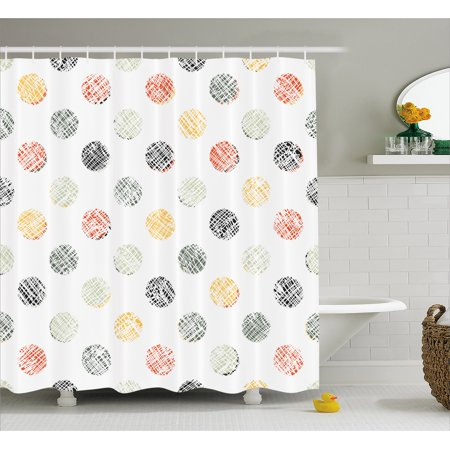 Polka Dots Shower Curtain Lined Traditional Geometrical Circles Various Color Combinations Abstract Artsy Fabric