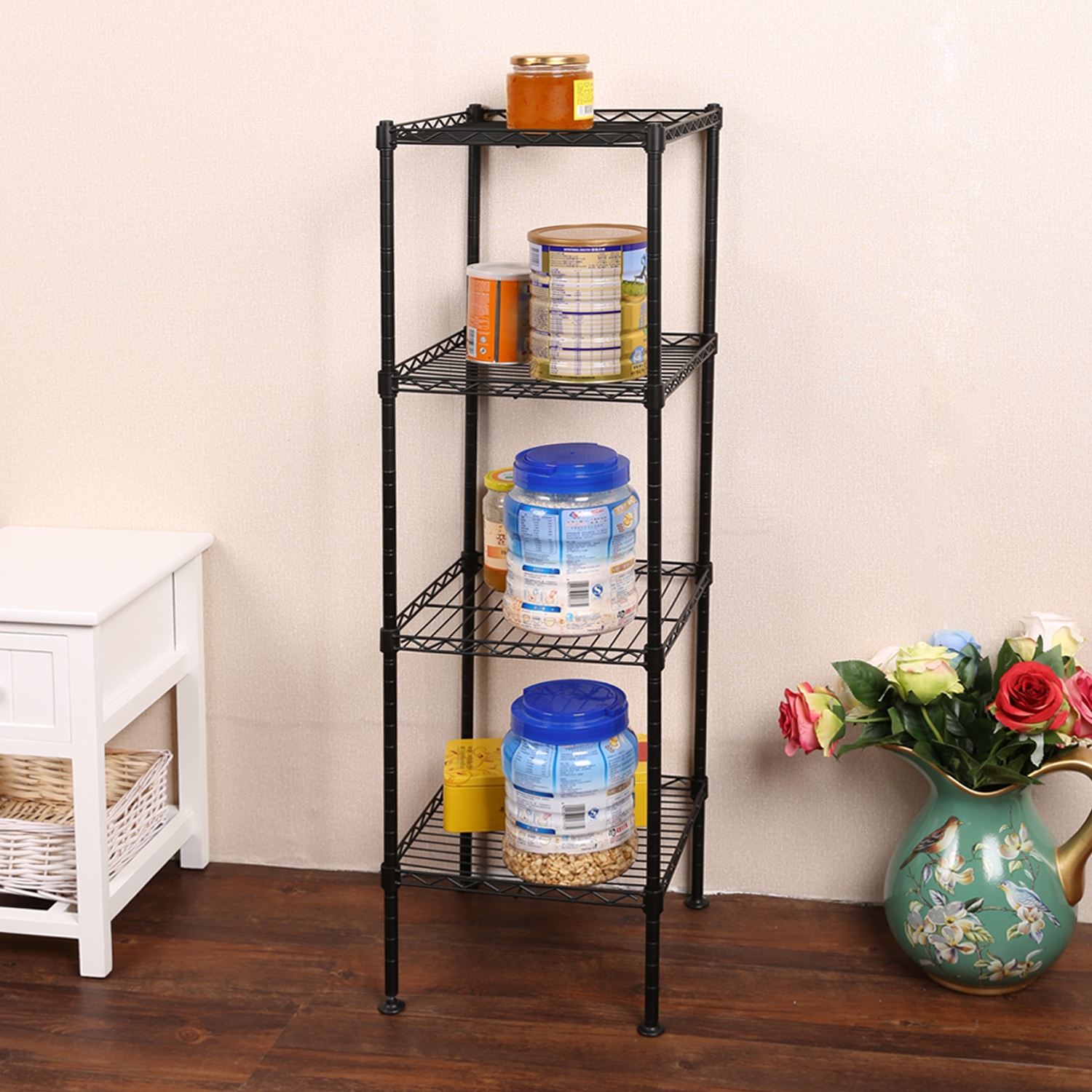 Kitchen Bathroom Shelf 4/5Tier Multifunctional Storage Display Rack Shelving