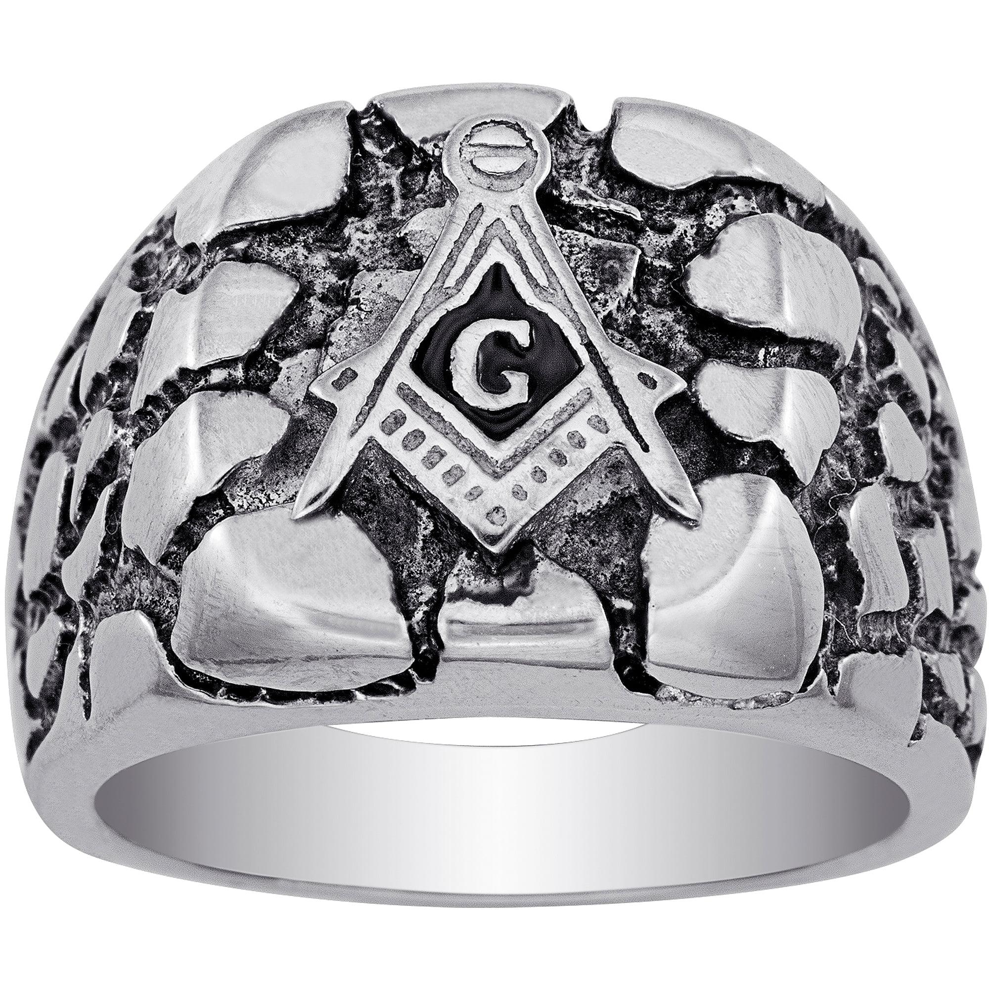 Mens Mason Ring Black IP Stainless Steel Freemason Lodge Compass Square 8 10 12