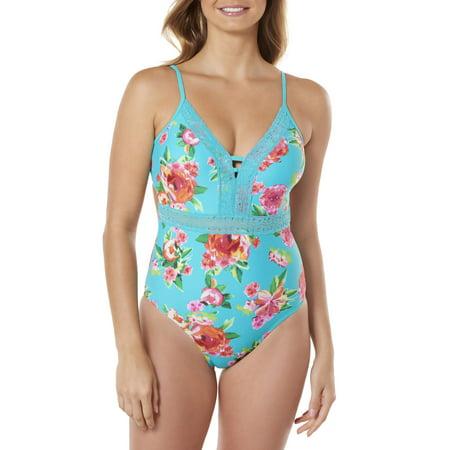 (Women's Lace Front Floral Print One-Piece Swimsuit)