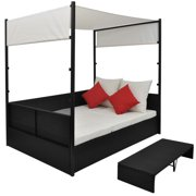 """HERCHR Garden Bed with Canopy Black 74.8""""x51.2"""" Poly Rattan"""