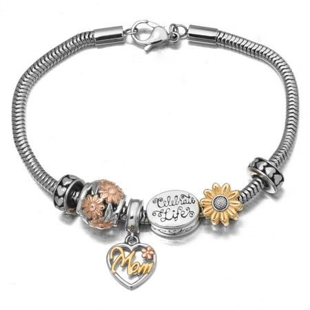 Connections from Hallmark Stainless Steel Tri-Color Mom Charm Bracelet, 7.75