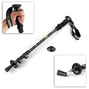 """Trekking Pole Walking Stick (Black) - Collapsible Retractable 24""""-54"""" Alpenstock Outdoor Sports Hiking Walking Travel Camping Backpacking Ultra Light Aluminum with EVA Foam Handle"""