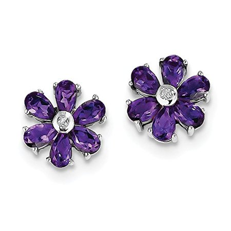 .925 Sterling Silver Genuine Diamond And Amethyst Flower Post Stud Earrings (0.01 CTW, I-J Color, I2 Clarity)