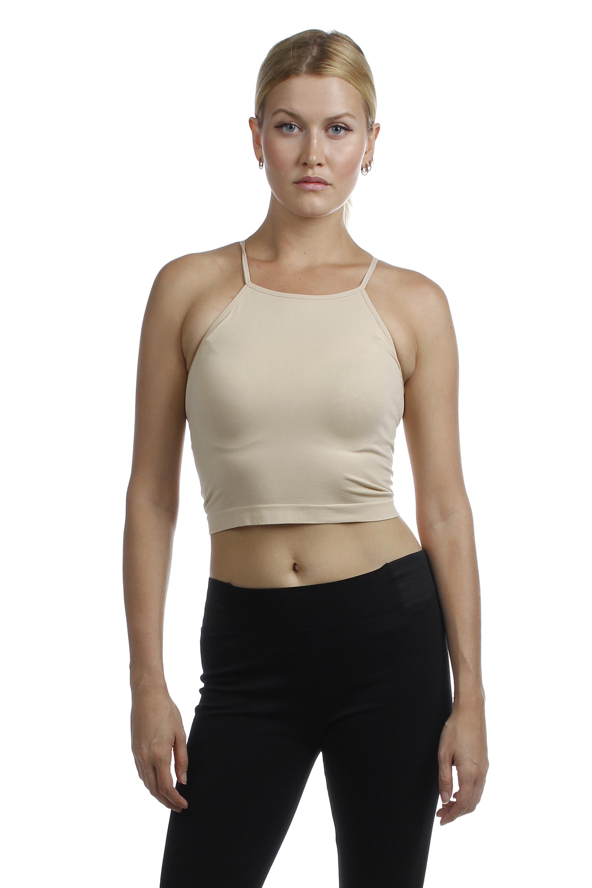 Emmalise Junior Women's Sexy Athletic Seamless Basic Stretchy Crop Short Top Shirt