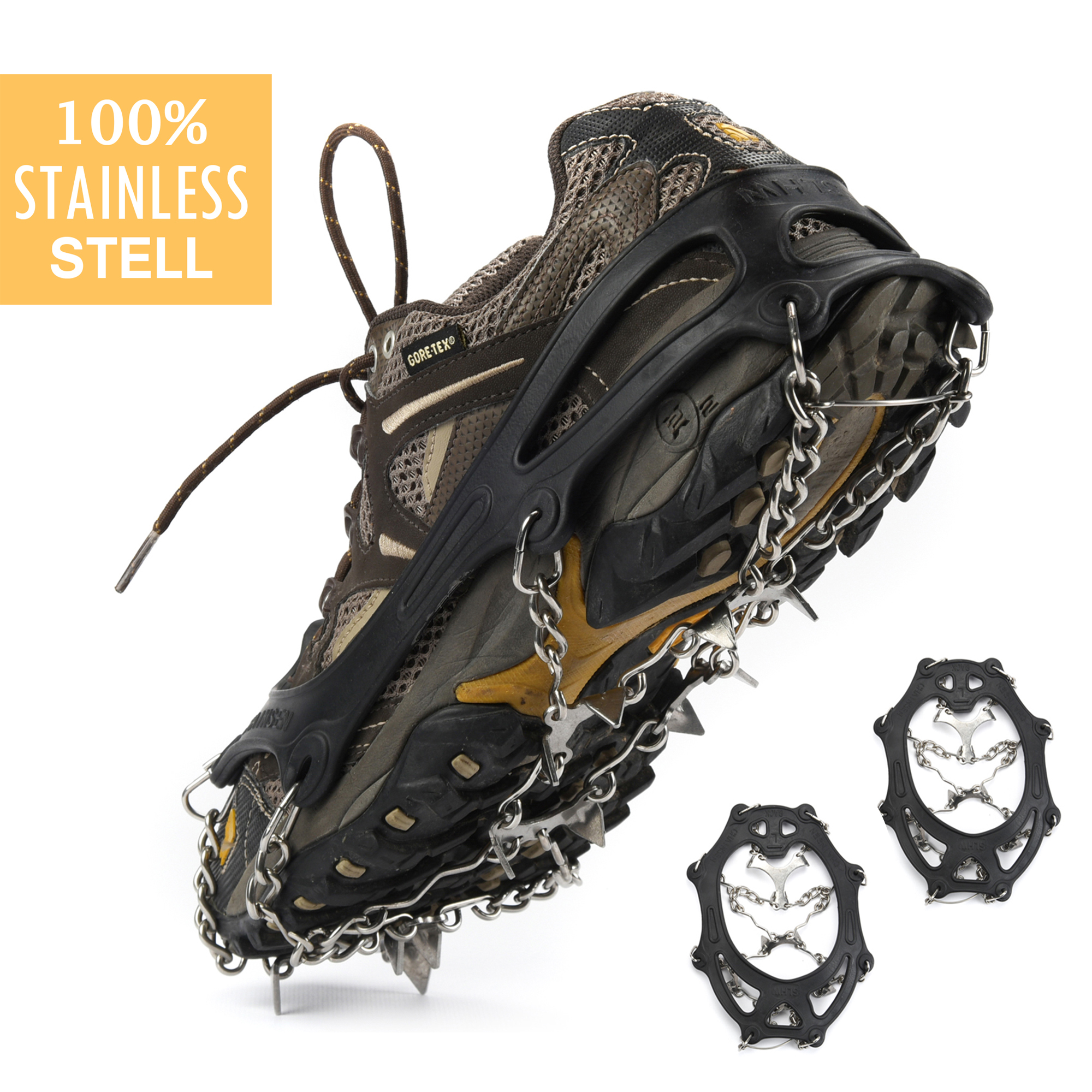 Anti-slip Ice Cleat Shoe Boot Tread Grips Traction Crampon Chain Spike (12-Crampon,L)