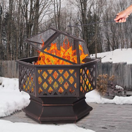 """SEGMART Wood Burning Fire Pit for Outside, 24"""" Metal Fire Pit with Flame-Retardant Lid, Wood Burning Fire Pit w/Poker, Wood Burning Fireplace Ice Pit for Backyard Patio Garden BBQ Grill, Bronze, S7041"""