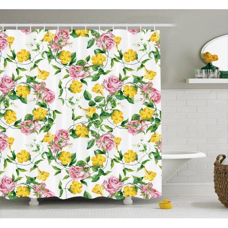 Yellow Flower Shower Curtain Flourishing Bindweed And Pink Roses Leaves Botanical Nature Fabric Bathroom