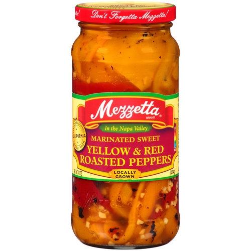 Mezzetta Mild Marinated Sweet Yellow & Red Roasted Peppers, 15 Oz (Pack of 6)