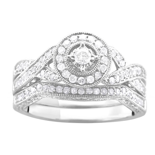 1/2 Carat T.W. Illusion Round Diamond Bridal Set in Argentium Silver
