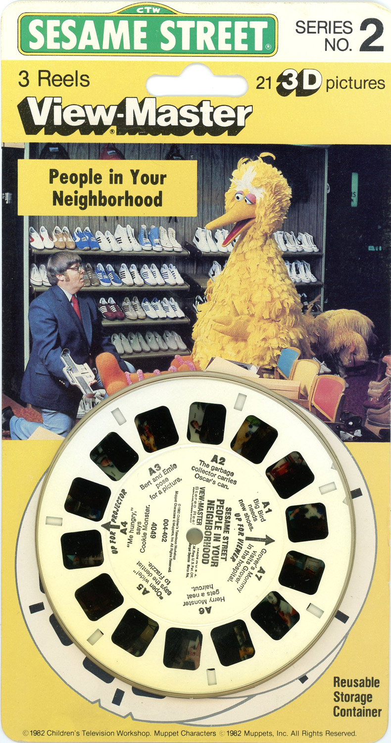People in Your Neighborhood Sesame Street -Classic ViewMaster 3 Reel Set on Card by ViewMaster
