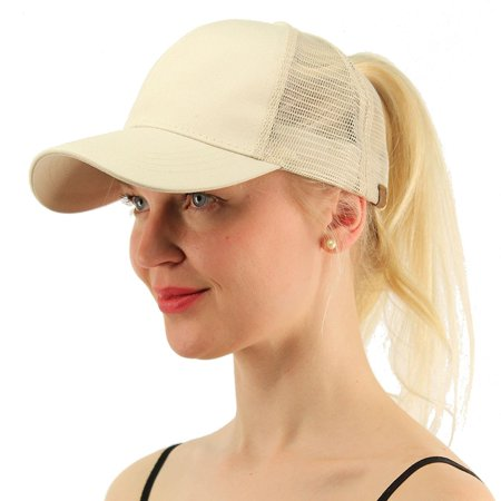 2018 Ponytail Baseball Cap Women Messy Bun Hat -