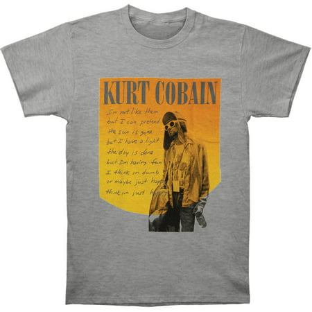 Nirvana Men's  Kurt Cobain Just Happy Photo T-shirt Heather