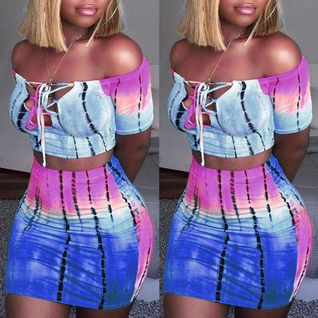 Sexy Women Tie Dye Printed Dress Crop Top Short Skirt Bodycon Evening Cocktail Party 2Pcs Set Dress Blue S