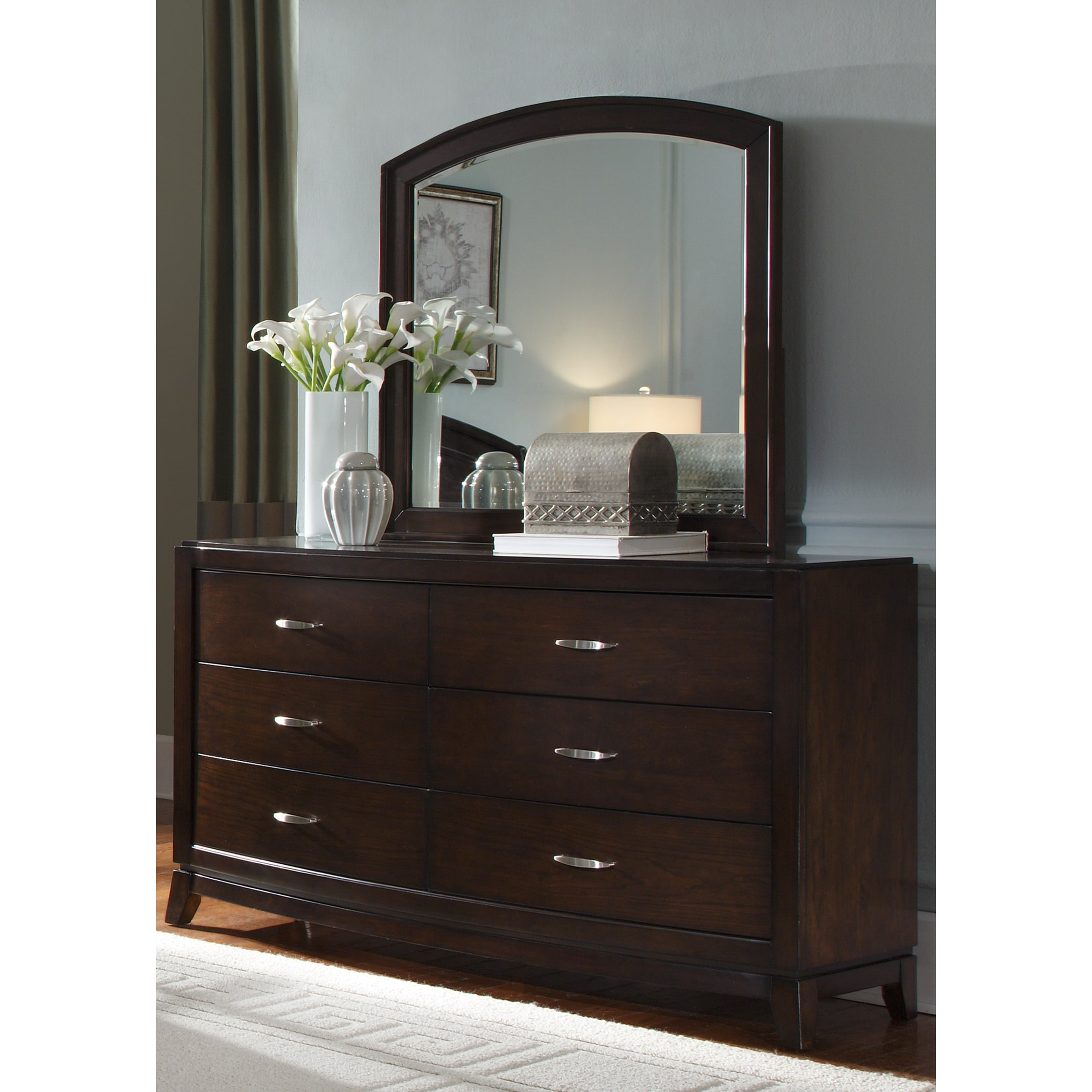 Liberty Avalon Dark Truffle 6-Drawer Dresser and MIrror Set