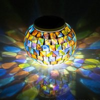 Color Changing Solar Powered Glass Mosaic Ball Led Garden Lights, Rechargeable Solar Table Lights, Outdoor Waterproof Solar Night Lights Table Lamps for Decorations, Ideal Gifts-1PACK