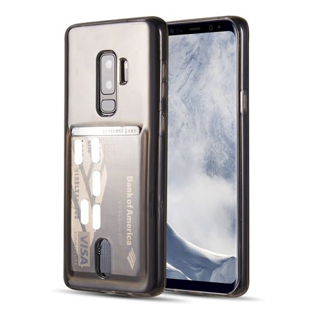 Insten TPU Gel with Card Holder Slot Clear Case Phone Cover For Samsung Galaxy S9 Plus S9+, Smoke