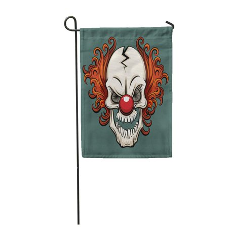 LADDKE Colorful Creepy Evil Scary Clown Halloween Monster Joker Character Garden Flag Decorative Flag House Banner 12x18 - Scary Halloween Monsters