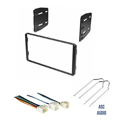 asc double din car stereo install dash kit, wire harness, and radio tool for