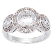 Kate Bissett  Silvertone Halo Cubic Zirconia Anniversary Ring