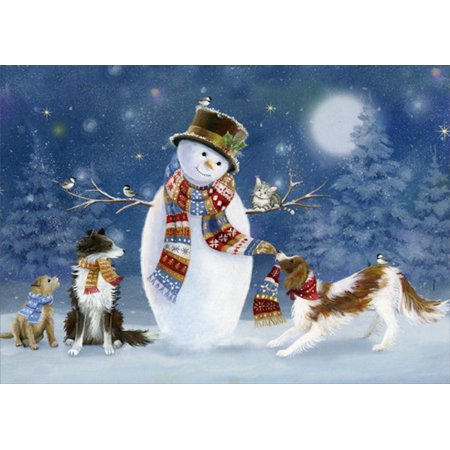 - LPG Greetings Winter Fun Snowman and Dogs in Scarves : Sarah Summers Deluxe Velvet Touch Christmas Card