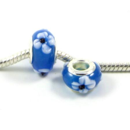 3 Beads - Blue w White Black Flowers Lampwork Glass Silver European Bead Charm E0476 Glass Beaded Flowers