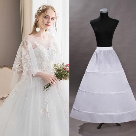3-Hoops Skirt Full A line Bridal Dress Gown Slip Petticoat for Wedding Dress Crinoline Underskirt Ball Gown (Slip For Wedding Dress)