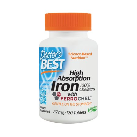 Doctor's Best Iron Tablets, 27mg ,120 Ct