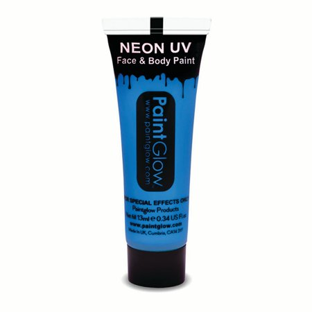 PaintGlow Neon UV Reactive Face & Body Paint 10ml Liquid Makeup, Neon Blue](Diy Face Paint Halloween)