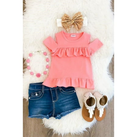 Hot Tumblr Outfits (Newborn Baby Girls Kids Toddler clothes Summer round neck short sleeve Ruffle pullover T-shirts Hot Button pocket Shorts 2pc cotton summer)