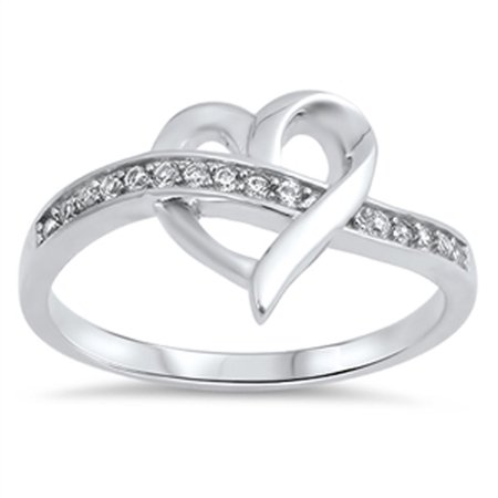 Heart Weave Knot Clear CZ Promise Ring ( Sizes 5 6 7 8 9 10 ) New .925 Sterling Silver Band Rings by Sac Silver (Size 8)