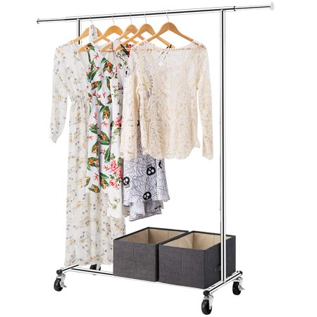 Garment Rack, 2 in 1 LANGRIA Heavy Duty Rolling Garment Rack with Lockable Wheels, Extendable Rod Clothes Rack with two detachable grid bottom shelves to store shoes, boxes, or bags, Chrome Finish