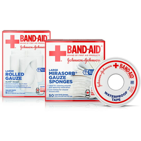 BAND-AID Mirasorb Gauze Sponges 50 ea & Band-Aid Rolled Gauze, Minor Wound Care 5 ea & Band-Aid Waterproof Tape To (Clad Proof Roll)