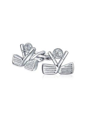 Golf Clubs Ball Caddy Golfer Sports Coach Cufflinks For Men Shirt Cuff Links Brass Silver Tone Steel Hinge Back