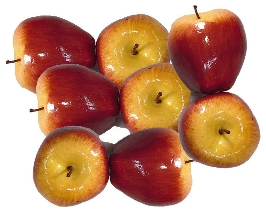 Artificial Dark Red Apples for Decoration Set of 8