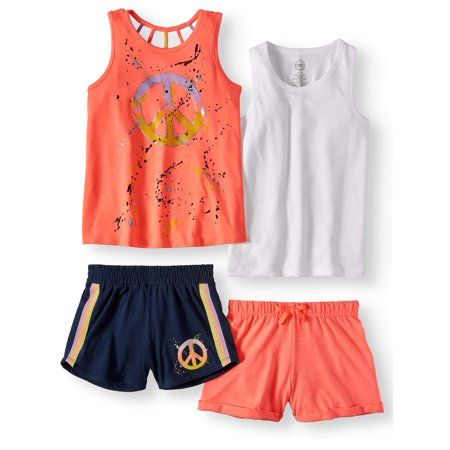 Wonder Nation Graphic and Solid Summer Tank Tops and Shorts, 4-Piece Mix & Match Outfit Set (Little Girls & Big Girls)