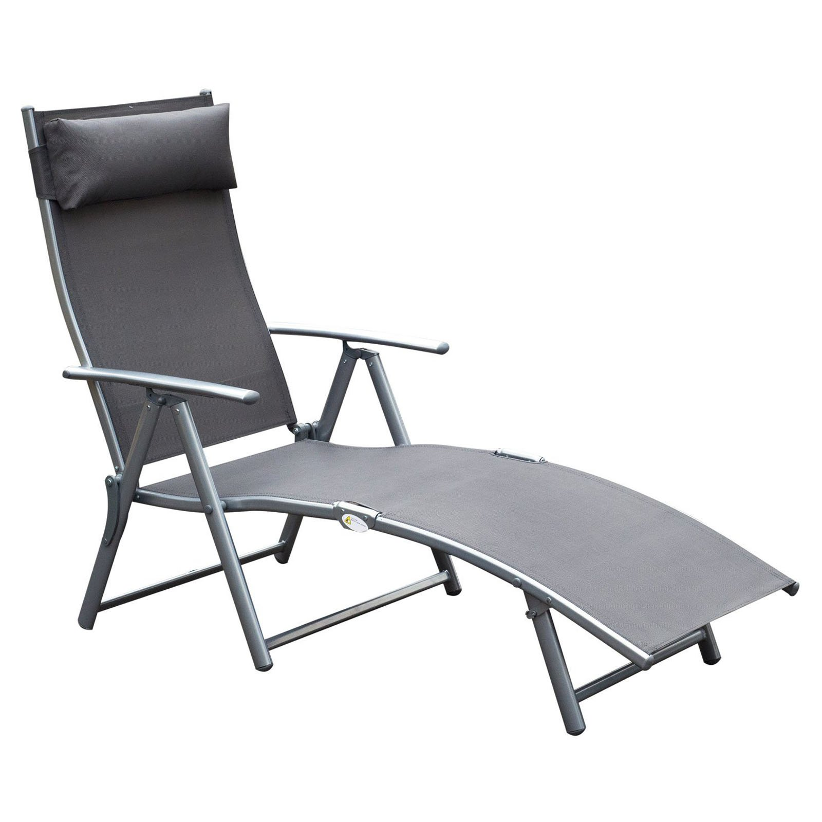 Outsunny Steel Sling Outdoor Folding Chaise Lounge Chair