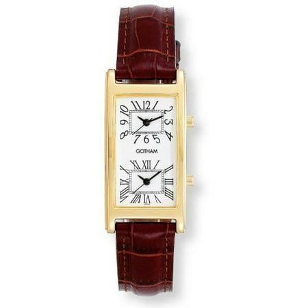 Men's Gold-Tone Dual Time Zone Leather Strap Watch # GWC15090GWBR