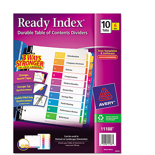 Avery Ready Index Table of Contents Dividers 11188, 10-Tab, 6 Sets