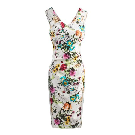 Women Vintage Style Floral Prints 50S Bodycon Pencil Sexy Dress - 50s Womens Hair